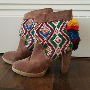 Brown Suede Aztec Pom Pom Ankle Boots